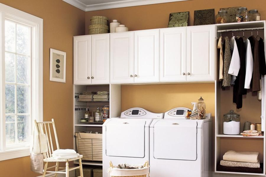 White Compact Cabinet for Laundary