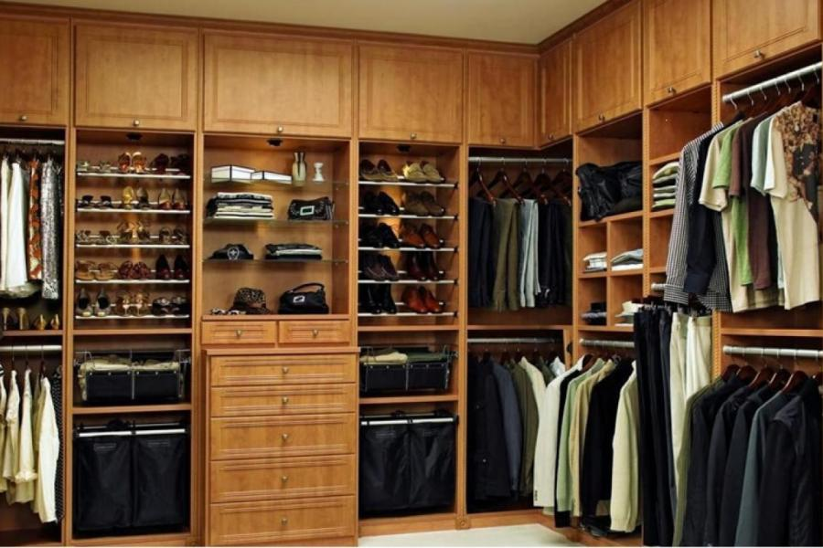 Walk In Wardrobe with Ornate Drawer Faces